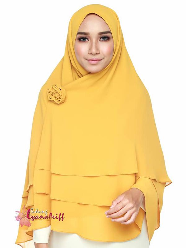 Umrah Banner: Khimar 3 Layer Mustard
