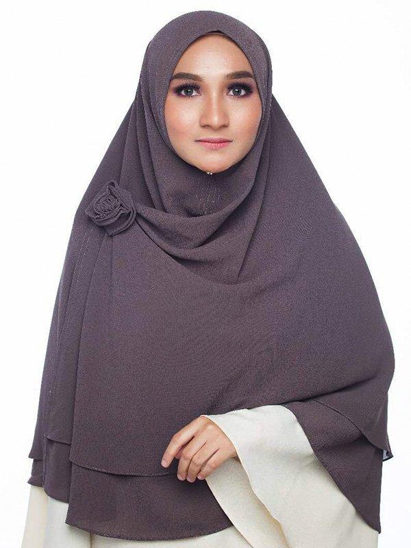 Umrah Banner: Khimar 2 Layer Dark Grey